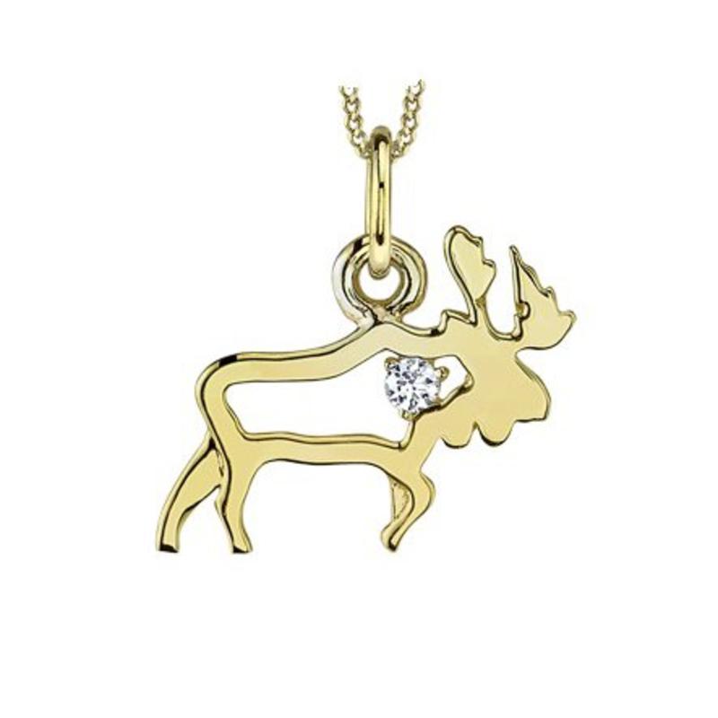 10K Yellow Gold (0.02ct) Canadian Diamond Moose Pendant