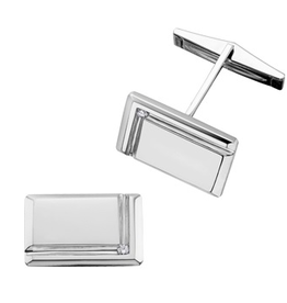 White Gold and Diamond Rectangle Cuff Links