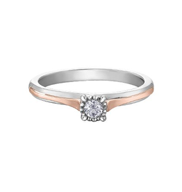 White and Rose Gold Diamond Promise  Ring (0.05)