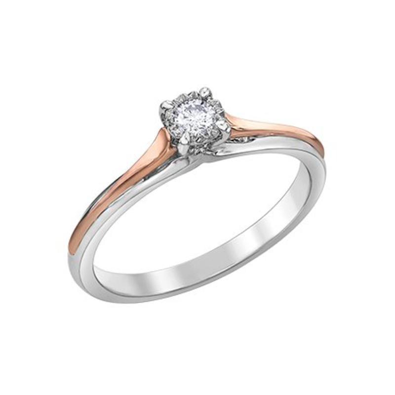 10K White and Rose Gold (0.05ct) Diamond Illusion Set Promise Ring