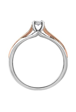 10K Two Tone White and Rose Gold (0.05ct) Diamond Illusion Setting Promise Ring