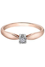 10K Two Tone Rose and White Gold (0.03ct) Diamond Illusion Setting Promise Ring