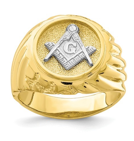 Yellow and White Gold Masonic Mens Ring