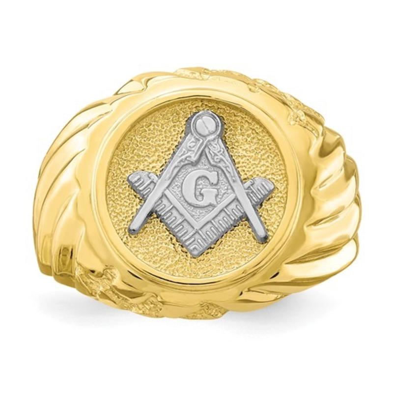 Yellow and White Gold Masonic Mens Ring