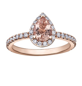 Rose Gold Diamond Morganite Teardrop Ring