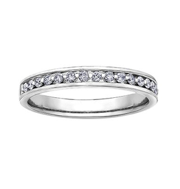 14K White Gold (0.25ct) Channel Set Diamond Stackable Wedding Band