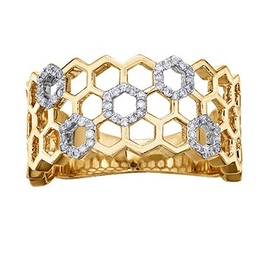 Yellow Gold Honeycomb Design Diamond Ring (0.18cttw)