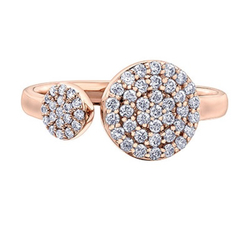 10K Rose Gold (0.40ct) Diamond Pavee Open Cuff Ring