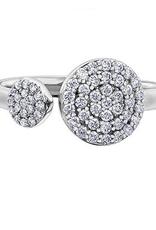 10K White Gold (0.40ct) Diamond Pavee Open Cuff Ring