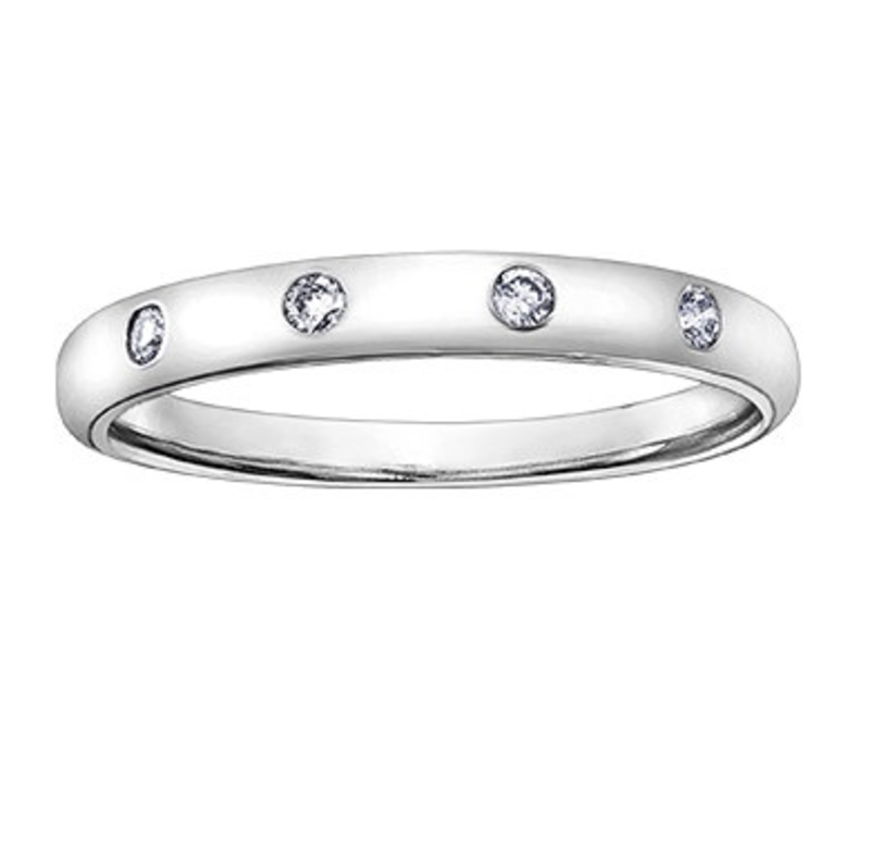 White Gold (0.08ct) Diamond Stackable Band