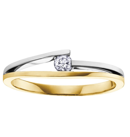 I am Canadian 10K Two Tone Yellow and White Gold (0.09ct) Canadian Diamond Promise Ring