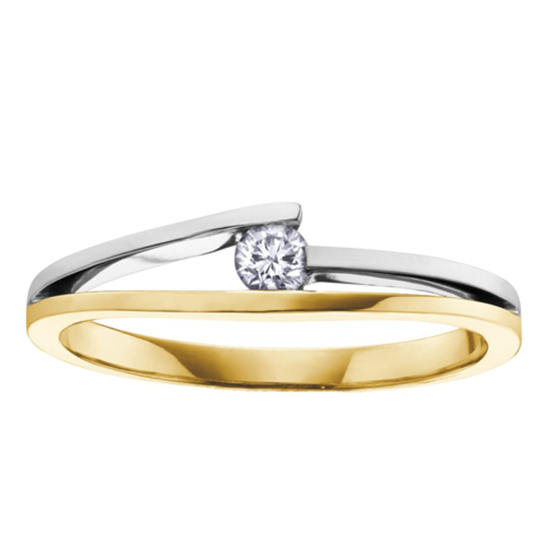 I am Canadian 10K Yellow and White Gold (0.09ct) Canadian Diamond Promise Ring