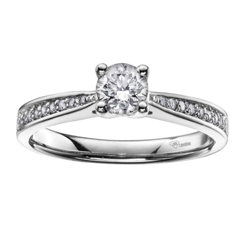 I am Canadian Brilliant White Gold (0.62ct) Canadian Diamond Pavee Engagement Ring