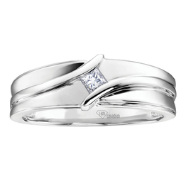 I am Canadian 10K White Gold Mens Ring (0.13ct) Princess Cut Canadian Diamond Ring