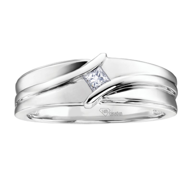 I am Canadian White Gold Mens Ring with Square Canadian Diamond (0.13ct)