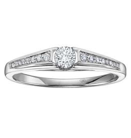 I am Canadian 10K White Gold (0.20ct) Canadian Diamond Illusion Setting Promise Ring