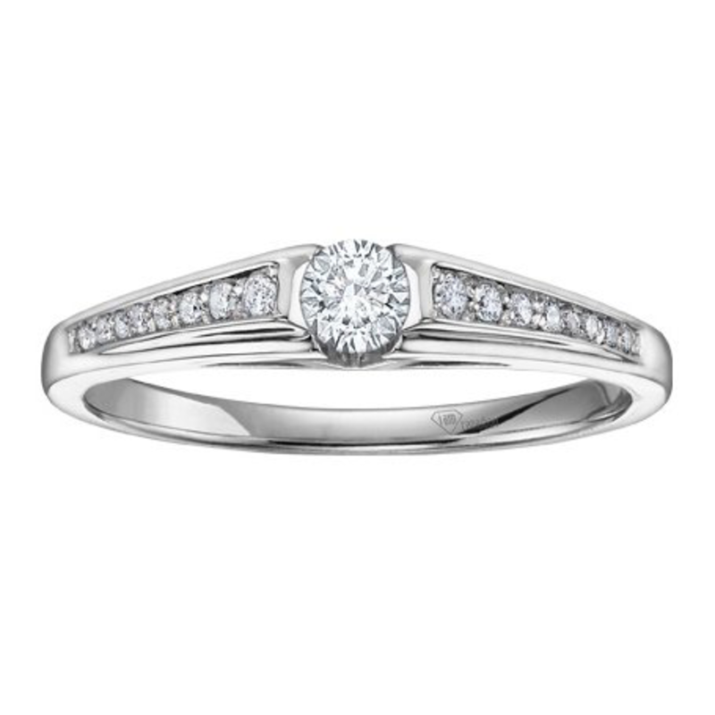 I am Canadian 10K White Gold (0.20ct) Canadian Diamond Illusion Set Ring