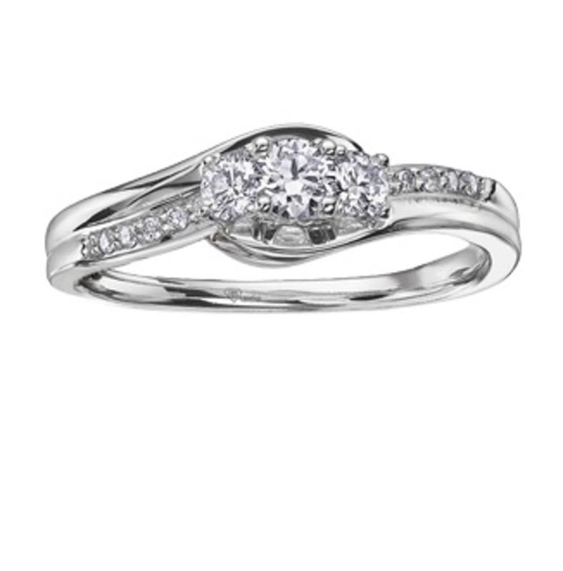 I am Canadian 10K White Gold (0.32ct) Canadian Diamond Three Stone Ring