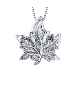 I am Canadian Maple Leaf Canadian Diamond Pendant