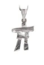 I am Canadian 10K White Gold (0.03ct) Canadian Diamond Inukshuk Pendant