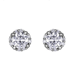 I am Canadian Brilliant White Gold Halo (0.40ct) Canadian Diamond Stud Earrings