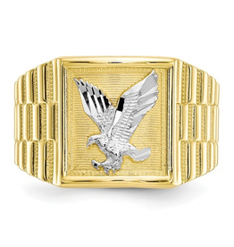 10K Yellow and White Gold Men's Eagle Ring