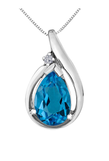 Forever Jewellery White Gold Blue Topaz and Diamond Pendant