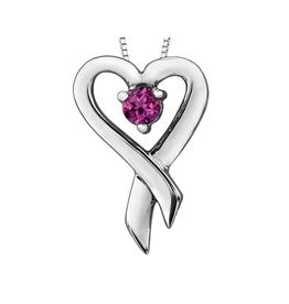 Forever Jewellery White Gold Pink Topaz Heart Ribbon Pendant