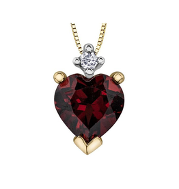 Forever Jewellery Yellow Gold (0.015ct) Diamond and Garnet Pendant