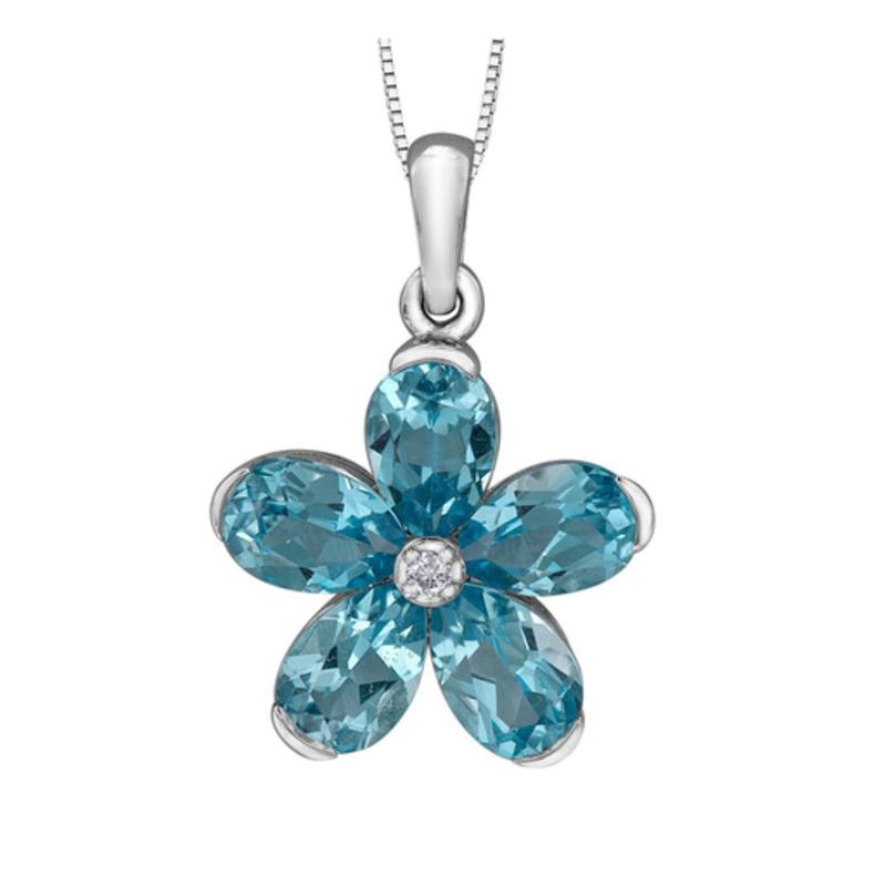Forever Jewellery White Gold Swiss Blue Topaz and Diamond Pendant