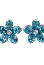 Forever Jewellery White Gold Swiss Blue Topaz and Diamond Flower Stud Earrings