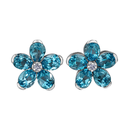 Forever Jewellery White Gold Swiss Blue Topaz and Diamond Flower Stud Earrings
