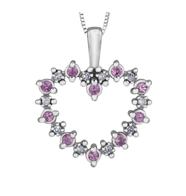 Forever Jewellery White Gold Pink Sapphire and Diamond Heart Pendant