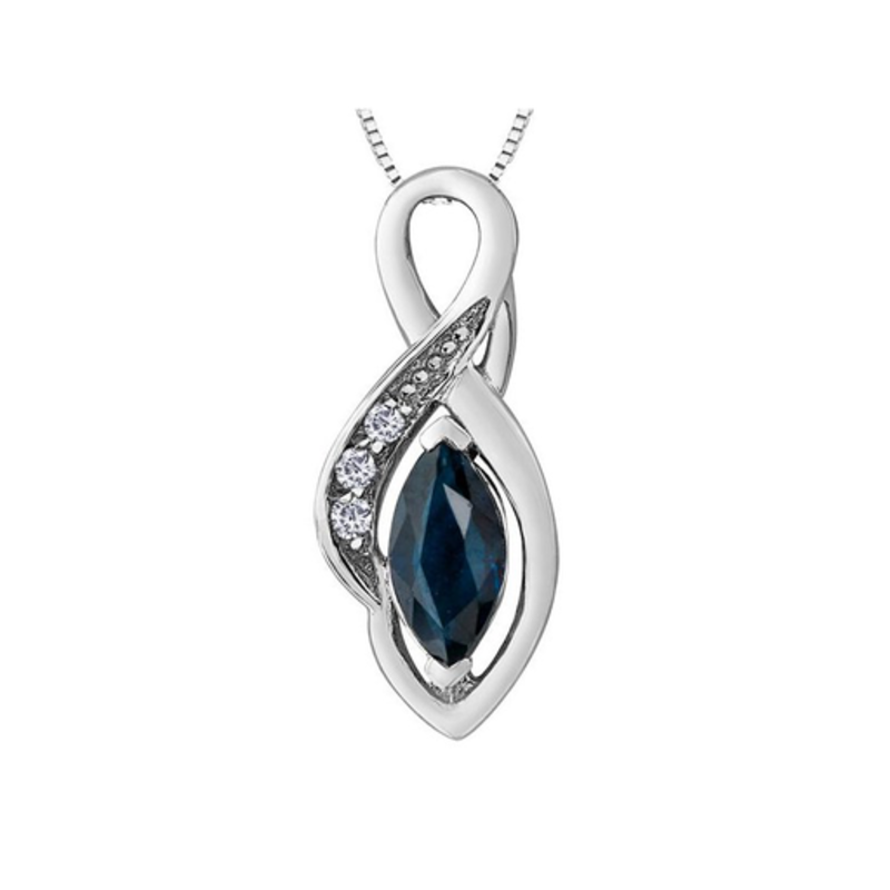 Forever Jewellery White Gold Sapphire and Diamond Pendant