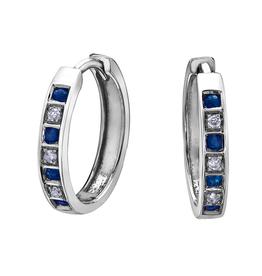 Forever Jewellery White Gold Diamond Sapphire Hoop Earrings