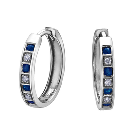 Forever Jewellery White Gold Sapphire and Diamond Hoop Earrings