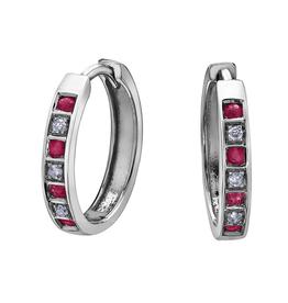Forever Jewellery White Gold Diamond Ruby Hoop Earrings