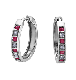 Forever Jewellery White Gold Ruby and Diamond Hoop Earrings