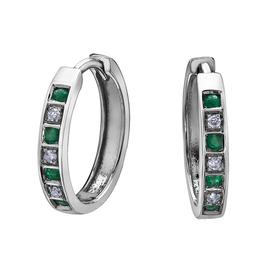 Forever Jewellery White Gold Diamond Emerald Hoop Earrings