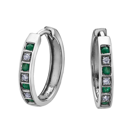 Forever Jewellery White Gold Emerald and Diamond Hoop Earrings