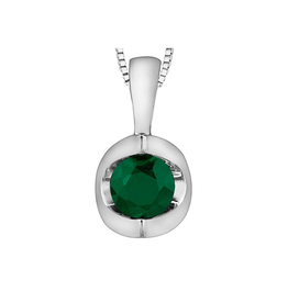 Forever Jewellery White Gold Emerald Solitare May Birthstone Pendant