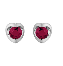 Forever Jewellery White Gold (4mm) Ruby Halfmoon Stud Earrings