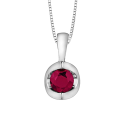 Forever Jewellery White Gold Ruby Solitare July Birthstone Pendant