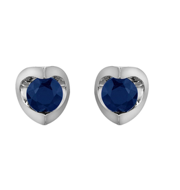 Forever Jewellery White Gold (4mm) Sapphire Halfmoon Stud Earrings