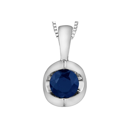 Forever Jewellery White Gold Sapphire Halfmoon Solitaire Pendant