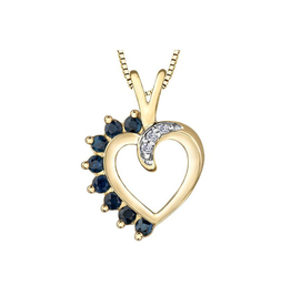 Forever Jewellery Yellow Gold Sapphire and Diamond Heart Pendant