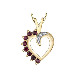 Forever Jewellery Yellow Gold Ruby and Diamond Heart Pendant