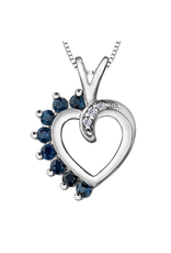 Forever Jewellery White Gold Sapphire and Diamond Heart Pendant