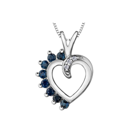 Forever Jewellery White Gold (0.03cttw) Diamond and Sapphire Pendant