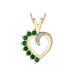 Forever Jewellery Yellow Gold Emerald and Diamond Heart Pendant